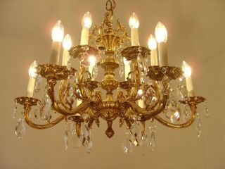 12 Light Classic Brass Chandelier Crystal Glass Vintage Old Lamp Ancient photo