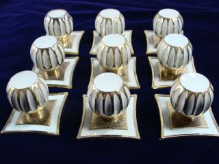 9 Mid - Century Mod 70s White/gold Metal Drawer Pulls Vtg Knobs W/back Plates photo