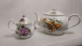 Two Staffordshire Tea Pots Arthur Wood And Son Royal Patrician Vintage photo