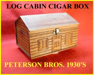 Peterson Bros Cigar Box - - Rare Log Cabin Form - - Conditon - 1930 ' S photo