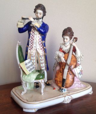 Porcelain Figurine Music Group Scheibe Alsbach Dresden Germany Volkstedt Rococo photo