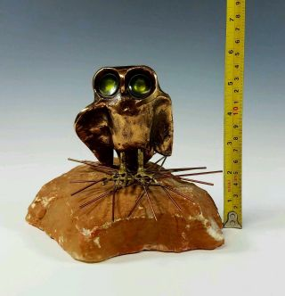 C.  Jere - Vintage Mid - Century Modern Cast Bronze Enamel Eye Owl Sculpture photo