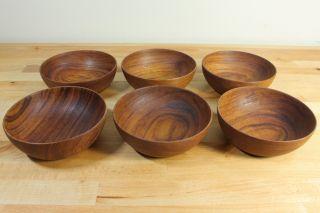 6 Rare Teak Frantz V.  Lyngby Danmark Mid Century Modern Wood Salad Bowls Denmark photo