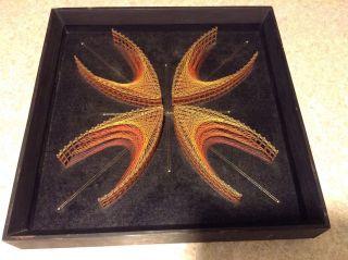 Vtg Mid Century Modern 3d Optical Illusion,  Geometric Framed String Art photo