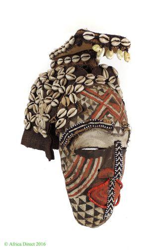 Kuba Mask Ngaady A Mwaash Cowrie Shells Beads Congo African Art photo