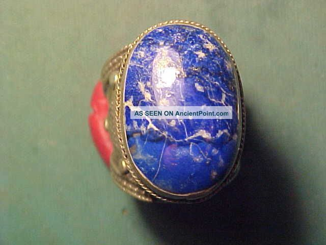 Near Eastern Hand Crafted Ring Lapis Lazuli Stone Circa 1700 - 1900 Near Eastern photo