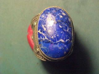 Near Eastern Hand Crafted Ring Lapis Lazuli Stone Circa 1700 - 1900 photo