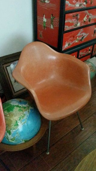 Early Vintage Eames Herman Miller Fiberglass Shell Chair Double Triangle Knoll photo