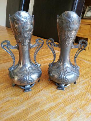 Pair Art Nouveau Wmf Maiden Vases Silver Plate Jugendstil Secessionist Tudric photo