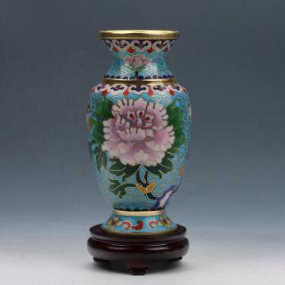 Chinese Cloisonne Handmade Peony Vase Z586 photo