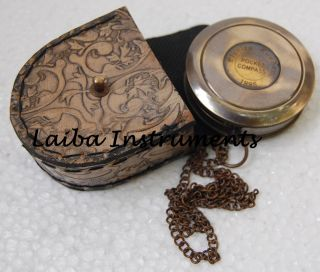 Nautical Vintage Antique Style Brass London 1885 Poem Compass With Robert Frost photo