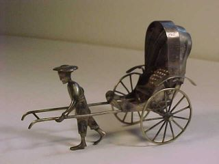 Antique Sing Fat Chinese Silver Rickshaw Driver Hallmarked Canton 3.  25