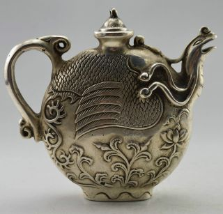 Collectible Decorated Old Handwork Tibet Silver Carved Phoenix Tea Pot photo