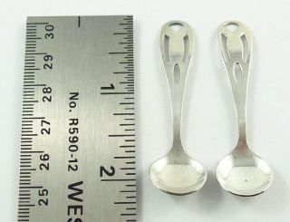 Vintage Sterling Silver Salt Spoons With Pierced Handles C.  1920 - 30 ' S photo