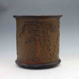Chinese Antique Hand - Carved Old Man&pine Bamboo Brush Pot X0185 photo
