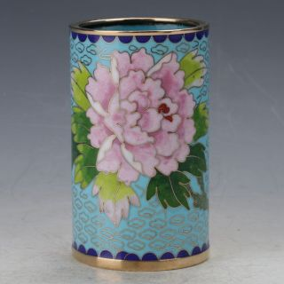 Chinese Cloisonne Painted Flower Brush Pots photo