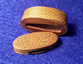 Antique Japanese Samurai Sword Fuchi Kashira • Basket Weave Motif • Edo Period photo