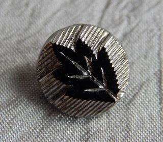 Antique Vintage Glass Button Black W/ Luster Leaf Motif 315 - B photo