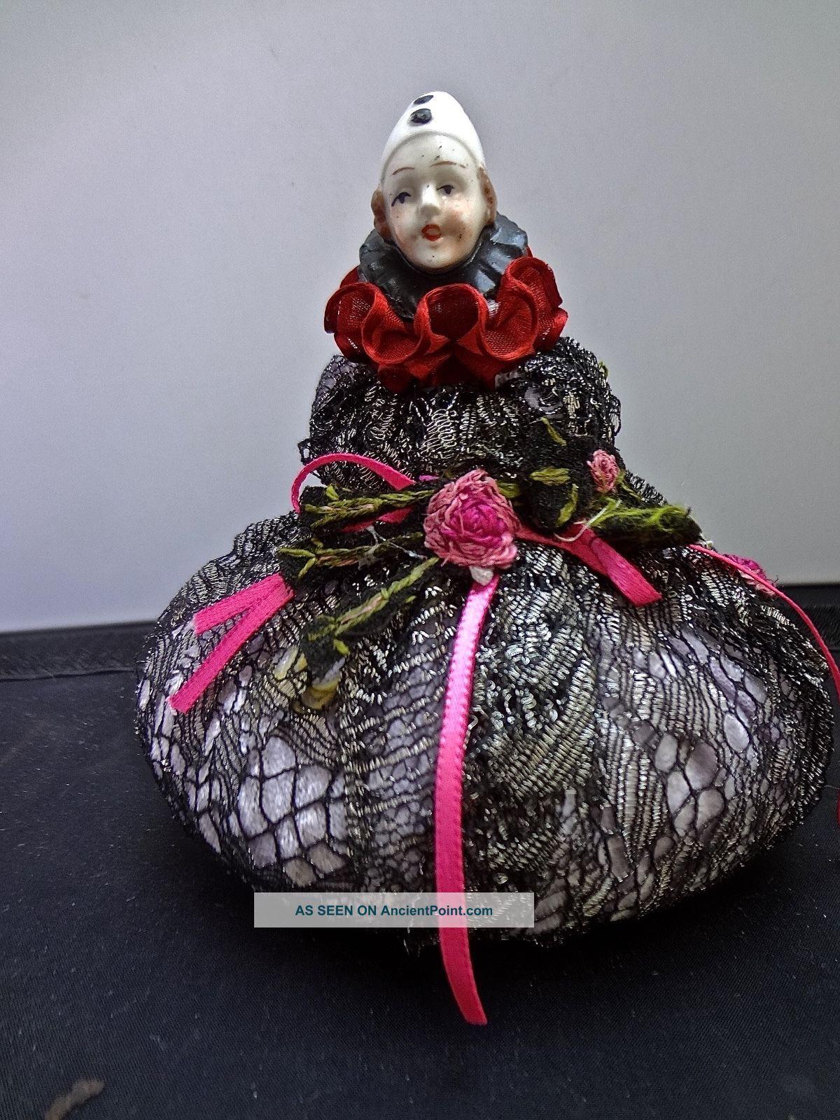 Antique Clown Head Doll Pincushion Metallic Lace Ribbon Antique Applique Pin Cushions photo