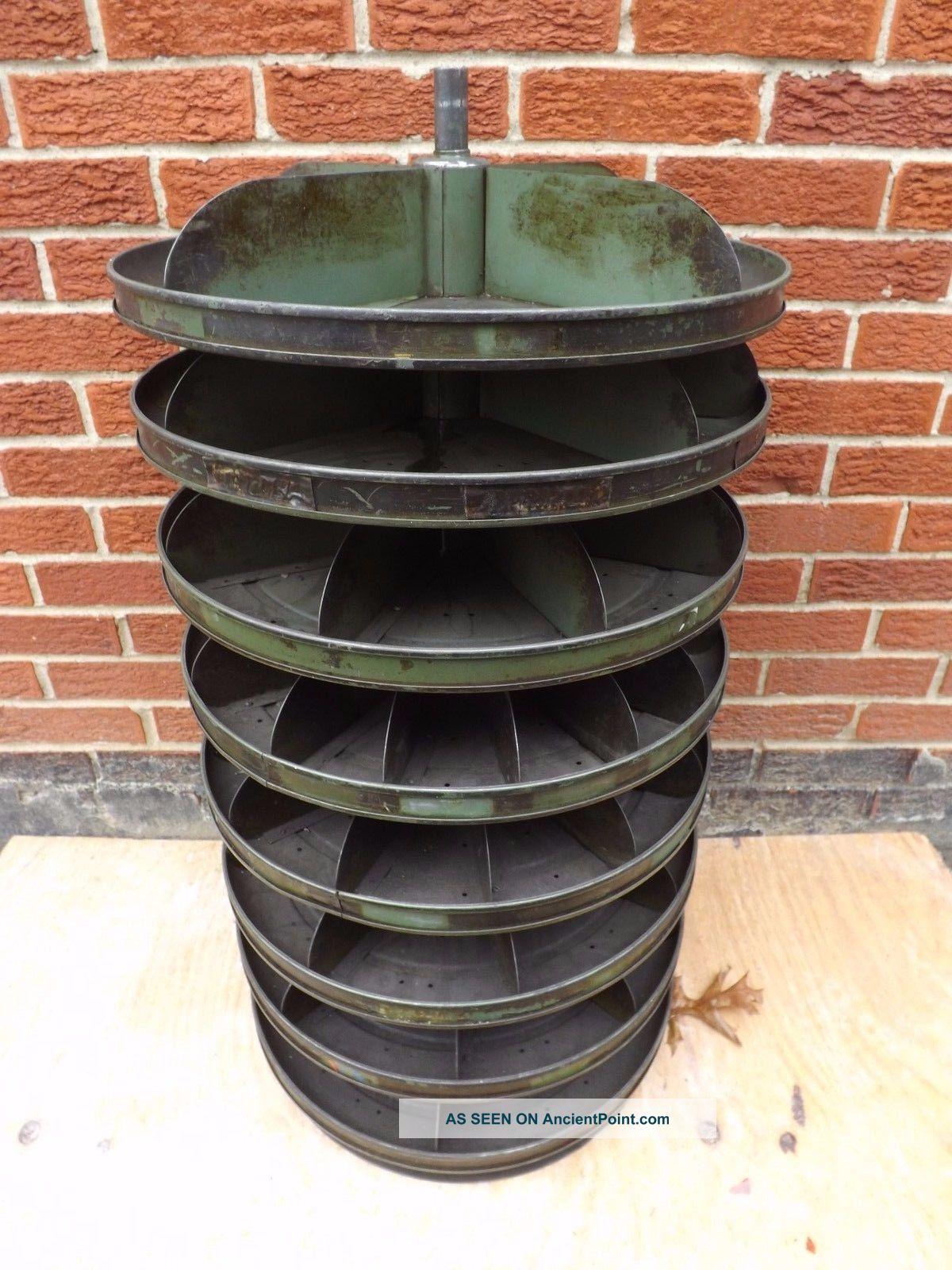 Vintage Industrial Metal Storage Bin For Nuts U0026 Screw Cabinet Round Carousel
