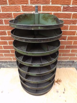 Vintage Industrial Metal Storage Bin For Nuts & Screw Cabinet Round Carousel photo