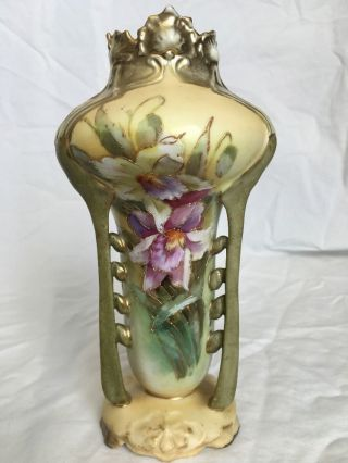 Rare Antique Art Deco Art Nouveau Porcelain Vase Hand Painted Floral photo