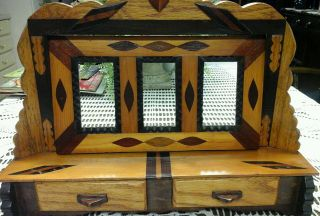 Tramp Art 3picture Frames 2 Drawer Inlaid Wood Hand Made Bureau Top/wall Hanging photo