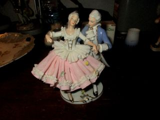 Antique Porcelain Lace Italian Capodimonte Figurine Signed Couple Dancing 7