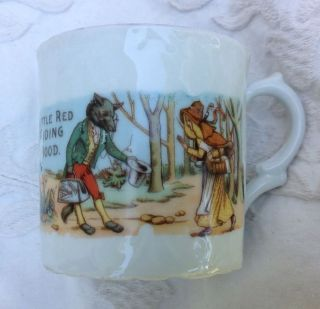 Antique Child Tea Cup Nursery Rhyme Little Red Riding Hood Transferware England photo