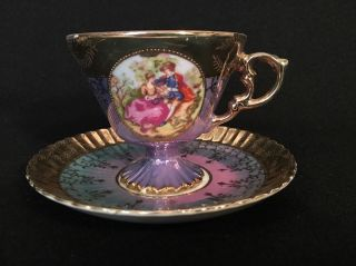 Victorian Purple Opalescent Tea Cup & Saucer With Gold Accents photo