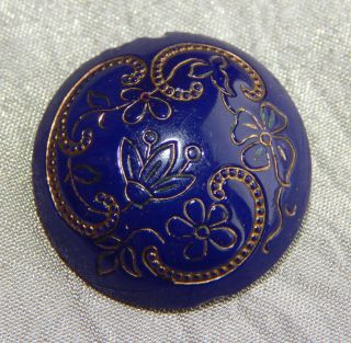 Antique Victorian China Glass Button Blue With Gold 311 - A photo