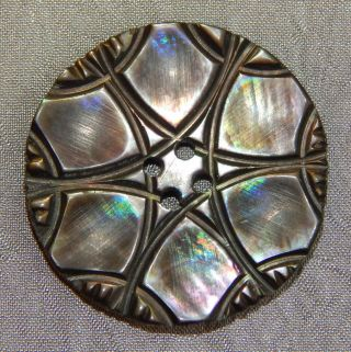 Antique Vintage Button Carved Mother Of Pearl Abalone Shell 029 - A photo