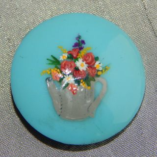 Antique Victorian China Glass Button Hand Painted Flowers Tea Pot.  153 - A photo