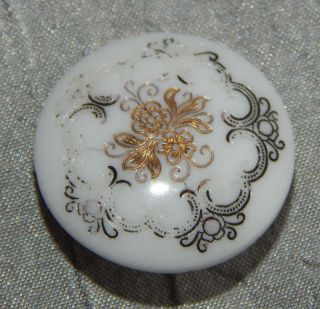 Antique Victorian China Glass Button White 312 - A photo