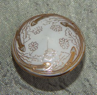 Antique Victorian China Glass Button Flowers And Gold Gilted 318 - A photo