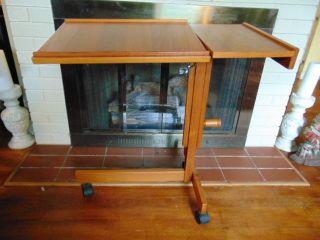 Vintage Danish Modern Teak Adjustable Tray Table Desk Bedside photo