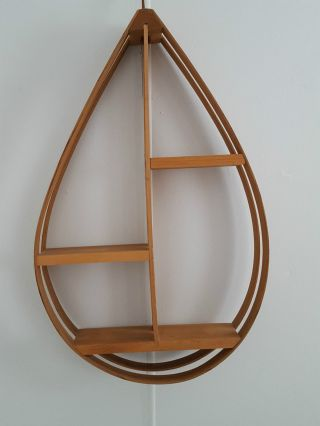 Danish Modern Style Bentwood Hanging Shelf Teardrop Shelf 27.  5