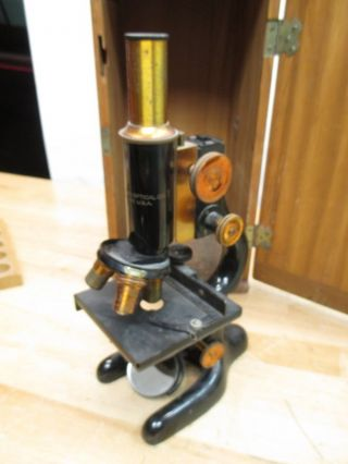 C1915 Bausch & Lomb School Optical Microscope Wood Case Steampunk Brass photo