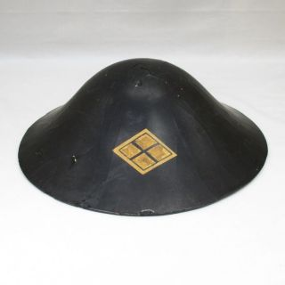 E604: Japanese Old Lacquered Samurai Military Hat Jingasa With Family Crest.  1 photo
