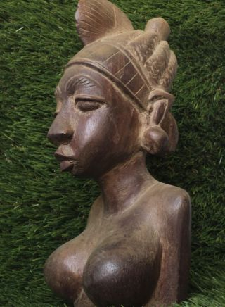 African Vintage Art Hand - Carved Wood Woman ' S Head Bust Statue photo
