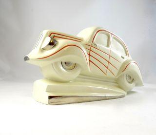 Rare French Art Deco Ceramic Car Streamline Chromed Stamped photo