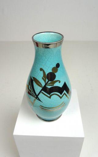 Avantgard French Art Deco Geometric Silver Overlay Craquele Vase 1930 Ceramic photo