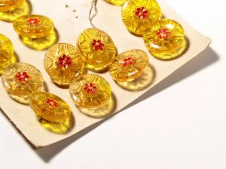 Card (21) 18mm Czech Vintage Deco Red Hand Painted Flower Yellow Glass Buttons photo