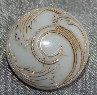 Antique Victorian China Glass Button White W/ Gold Luster 306 - A photo