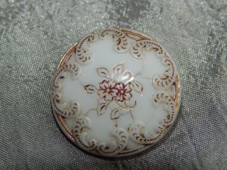 Antique Victorian China Glass Button Flowers And Gold Gilted 154 - A photo