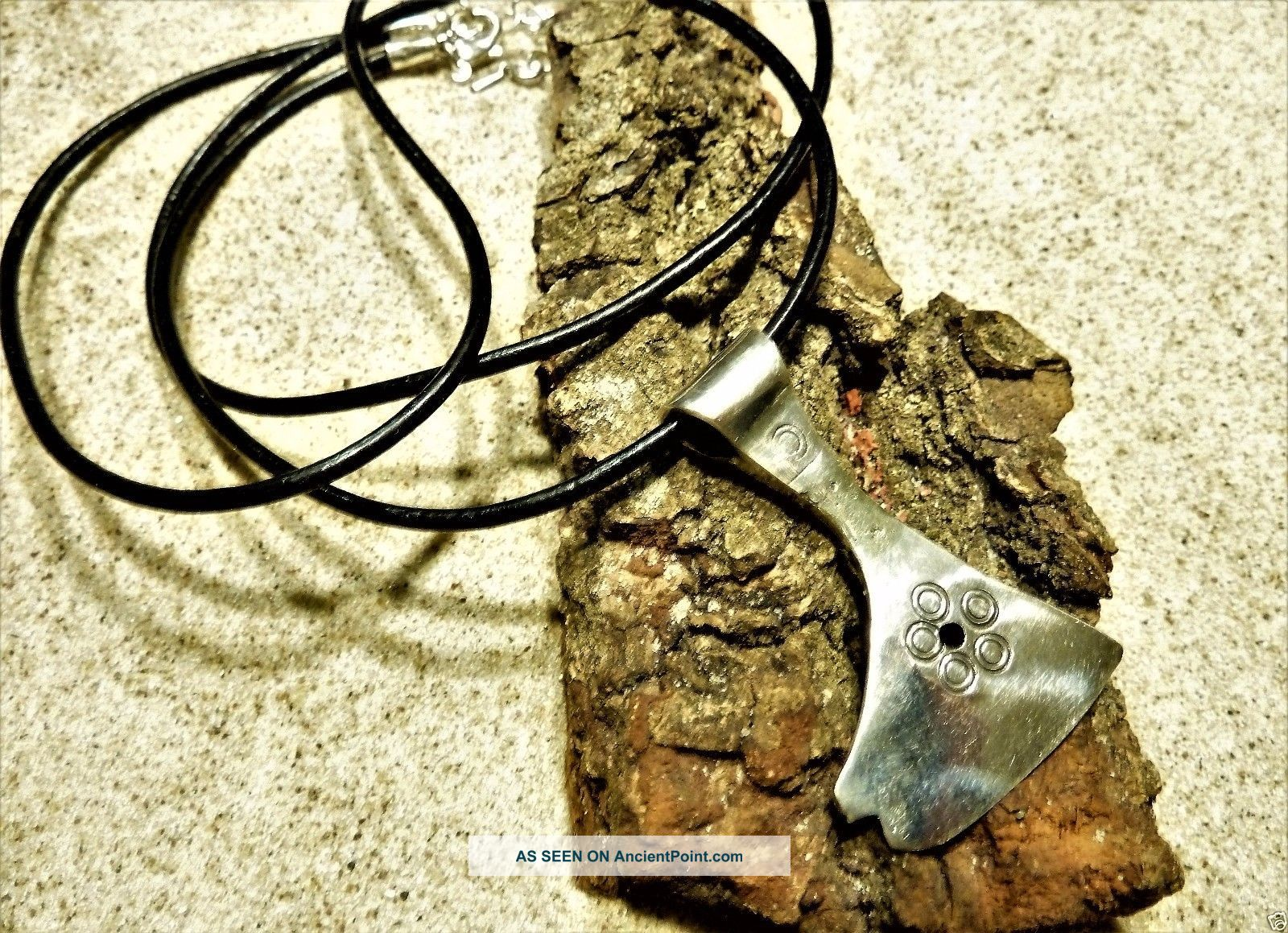 Ancient Bronze Amulet Pendant Solid Silver Axe. Reproductions photo