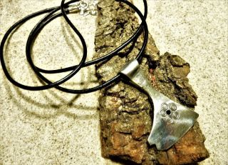 Ancient Bronze Amulet Pendant Solid Silver Axe. photo