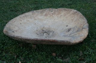 Antique Primitive Wooden Carved Bowl Natural Patina photo