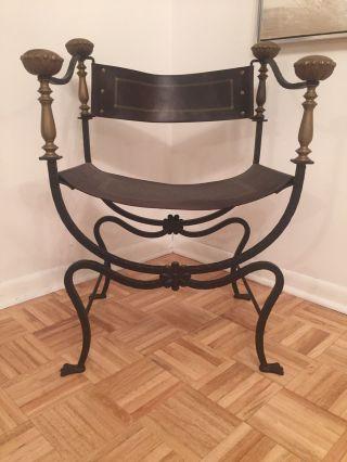 Mid Century Italian Campaign Savonarola Emperor Chair Curule Dante Design Italy photo