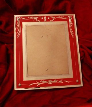 Antique Red Art Deco Reverse Painted Glass Picture Frame For 8